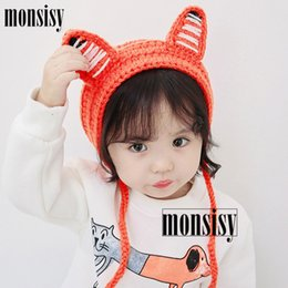 74617300f48 Monsisy Winter Baby Fox Ear Hat For Boys Girls Cap Kids Warm Wool Knitted  Beanie 2-6 Years Children Crochet Touca Earmuffs Cap