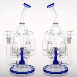 China Joint 14.4mm Blue Glass Bongs 5 Honeycomb Percs Tyre Perc Dab Rigs Bongs Fast Delivery in stock Oil Rigs Bongs Water Pipes cheap bongs percs suppliers