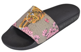 slippers for hotels UK - fashion bengal tiger slide sandals for mens and womens causal beach flip flops flats slippers size euro35-45