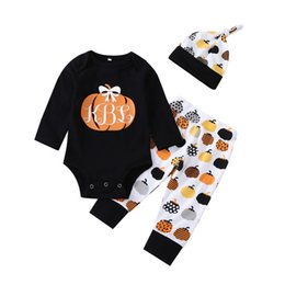 China 2018 Halloween Baby clothes Pumpkin Bodysuit romper+Pants+hat Infant Outfit 3pcs Set 0-24Months lovely gift for baby New arrival cheap new arrival baby outfits suppliers