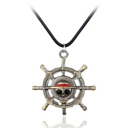 Wholesale monkey d luffy cosplay resale online - MQCHUN Vintage Anime ONE PIECE MONKEY D LUFFY Skull Pendant Necklace Pirate Flag Metal Necklace Cosplay Anime Gift