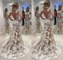 Wedding Dress Sheer Back Sweep Train NZ - 2018 Sexy Mermaid Wedding Dresses V Neck Sleeveless See Though Lace Applique Sheer Open Back Sweep Train Arabic Custom Long Bridal Gowns