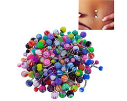 $enCountryForm.capitalKeyWord UK - Stainless Steel Belly Button Ring, Auniquestyle Navel Piercing Bar Body Jewelry Curved Barbell with Acrylic Pattern Ball 200pcs set