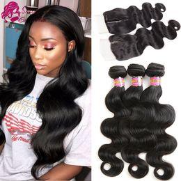 $enCountryForm.capitalKeyWord NZ - Malaysian Virgin Hair Body Wave 3 Bundles With Lace Closure Human Hair Natural Color Unprocessed Remy Hair Closure Natural Color