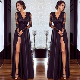 Full Length Robe Soiree NZ - Women Sexy V-Neck Side Split Evening Dresses Full Sleeves Appliques Lace CG00092BK Long Party Gown Autumn Winter Robe De Soiree