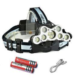faro frontale 9 CREE XML T6 LED faro anteriore testa ricaricabile usb 18650 ad alta potenza led torcia testa torcia + 2 18650 Batteria + Cavo in Offerta
