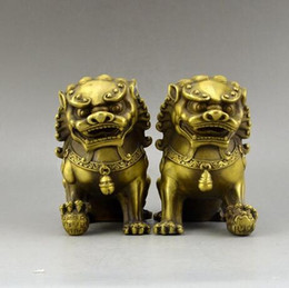 $enCountryForm.capitalKeyWord NZ - Chinese Brass Copper Animal Feng shui Foo Dog Lion town house Statue a pair