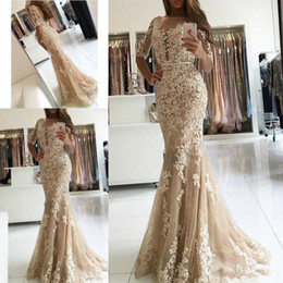 Wholesale 2018 Elegant Champagne Lace Mermaid Evening Dresses Half Sleeve Open Back Prom Dress Long Formal Party Gowns
