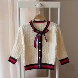 Girls Cardigans Pearls NZ - girl cardigan 2018 girls fashion autumn striped pearl button long sleeve cardigans girl sweater&outwear kids clothing 1-5Y