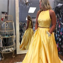 $enCountryForm.capitalKeyWord NZ - Simple Two Pieces Long Stain Beaded Ball Gowns Evening Dresses With Pockets Yellow Sky Blue Back Open Prom Gowns Free Shipping WY025