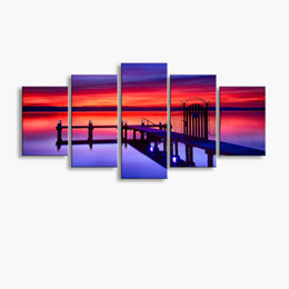 Art Canvas Prints Australia - 5 pieces high-definition print Wooden bridge Landscape canvas oil painting poster and wall art living room picture MUQ5-003