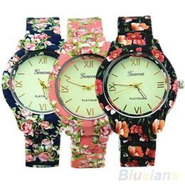 Discount floral dial watch - New Women Fashion Geneva Floral Printed Band Round Dial Analog Quartz Wrist Watch