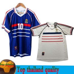 7ad964b4b 1998 FRANCE HOME AWAY white VINTAGE ZIDANE HENRY MAILLOT DE FOOT Thailand  Quality soccer jerseys uniforms Football Jerseys shirt SIZE S-XXL