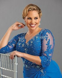 $enCountryForm.capitalKeyWord NZ - Plus Size 2018 Mother Of The Bride Dresses A line 3-4Sleeves Blue Appliques Long