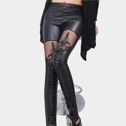 Chinese  Black Legins Punk Gothic Fashion Women Leggings Sexy PU Leather Stitching Embroidery Hollow Lace Legging For Women Leggins manufacturers