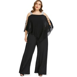 d9ed976cd8b52 Plus Size 5XL Ladder Cut Out Overlay Jumpsuit Women Square Neck Asymmetrical  Loose Fitting Romper Summer Lady Fashion Jumpsuits