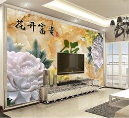 Ingrosso Personalizzato al dettaglio 3D Jade Carving Colour Peony delicati fiori Bloom Rich murales decorativi interni