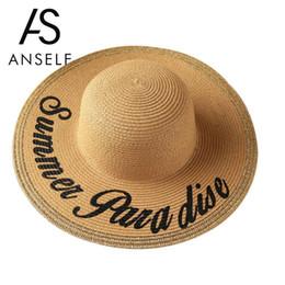 Anself Carta de moda Imprimir Mujeres Sombrero de paja Sombrero grande de ala  ancha Sombreros de verano para mujeres Sombrero de playa Boho Cap Floppy ... 282c98c7ca4
