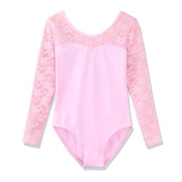 BAOHULU Girls Ballet Leotards Gimnasia Lovely Candy colores Girls Lace Manga larga Ballet Vestido Gymnastics Leotards Acrobatics
