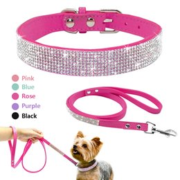 67256c0d77d Suede Leather Puppy Dog Collar Leash Set Adjustable Rhinestone Cat Collars  Walking Leashes For Small Medium Pets 1pc wholesale