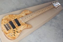 alder guitar wood Canada - 6 Strings Butterfly Electric Bass guitar with Maple top,Neck through body,Custom shop Ash wood 6 string Bass Free shipping