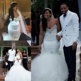 East African Wedding Dresses Australia - Elegant African Mermaid Wedding Dresses Sweetheart Crystal Beads Plus Size Tulle Middle East Arabic Country Bridal Gowns Custom