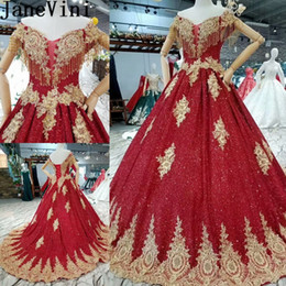 JaneVini Burgundy Sequined Wedding Dresses With Gold Lace Appliques Ball  Gowns Luxury Beaded Bridal Dress Long Lebanon Deluxe Bride Dresses 8d07e09f0cf8