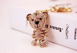 3d crystal keyring online shopping - Cute Tiger Keychain Key Chain D Crystal Rhinestone Keychains Womens Purse HandBag Bag Pendant For Car Keyring Holder Fashion Gift