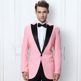 men tuxedo pink black images Australia - Pink Men Suit 2018 Wedding Groomsmen Suits Peaked Lapel Grey Groom Tuxedos Custom Made White Best Man Blazers 2 Pieces Red Jacket Pants