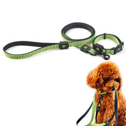 Discount dog reflective light - Dog Collar +Leash Light Reflective Nylon Pet Lead Set for Teddy Labrador Small Middle Dog Puppies Neck Coleira Para Cach