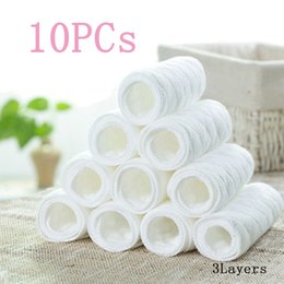 Nappy Cotton Liner Inserts NZ - 10 PCS New Washable Absorbed Breathable Super Soft Reusable Baby Modern Cloth Diaper Nappy Liners Insert 3 Layers Cotton