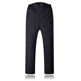 $enCountryForm.capitalKeyWord UK - Man Fall Plus Size Solid Elastic Waist High Full Length Straight Thick 95% Down Pants Male Winter Oversized Warm Down Trousers