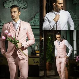 white royal blue groom's suit NZ - The groom's suit New Design Slim Fit Pink Groom Tuxedos Notched Lapel Best Men's Wedding Dresses Prom Clothing (Jacket+pants+tie+Vest)