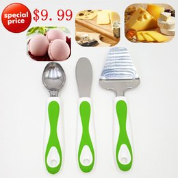 Discount cream handled knives - Stainless Steel Butter Cheese Sandwich Condiment Spreader Knives  Cheese Slicer  Ice Cream Spoon With Non -Slip Handle 3