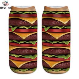 Short Compression Socks Australia - Print Happy Socks Men Women New Fashion French Fries Hamburger 3D Print Short Ankle Socks Casual Art Compression