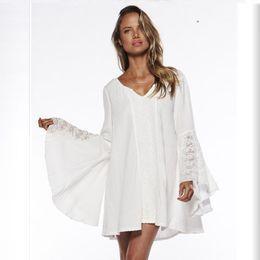 Verano de las mujeres de la vendimia Hippie Boho campana mangas Festival Gypsy Holiday Sexy Mini vestido de encaje blanco Beige en venta
