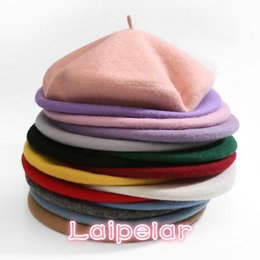 Wholesale High Quality Pure Wool Women Knit Beret Winter Warm Female British Style Lady Painter Bonnet Hats Solid Color Hot