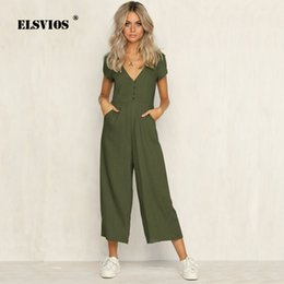 91cd04ece95e ELSVIOS 2018 Summer Women Jumpsuit Romper Sexy V Neck Short Sleeve Casual  Playsuit Ladies Wide Leg Loose solid color Overalls