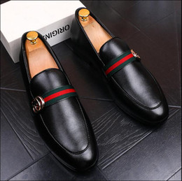 Handmade leatHer slippers men online shopping - 2018 New Fashion Men s Casual Loafers Genuine Leather Slip on Dress Shoes Handmade Smoking Slipper Men Flats Wedding Party Shoes EUR
