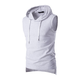 White hooded t shirt online shopping - 2017 Summer Casual Men s Solid Sleeveless Sports Cotton T Shirt Hooded Tank Top Hoodies Tee Men Bodybuilding Fitness Tops