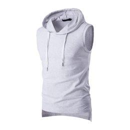 Ingrosso T-shirt da uomo Bodybuilding Fitness Tops da uomo 2017 estate casual da uomo solido senza maniche in cotone t-shirt con cappuccio canotta