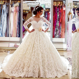 modern petticoat Australia - Luxurious V Neck Long Sleeves White Ivory lace Appliques Wedding dresses Bridal Wedding Gown Ball Gown Vestido de Noiva 2018 Match petticoat