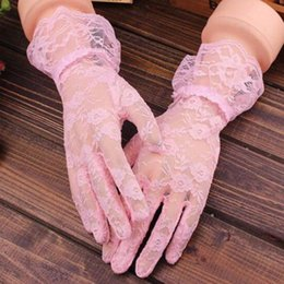 Hollow Fingers Australia - Lace Women Gloves solid Sun Protection Accessories pink Finger Gloves Elegant hand Accessories Black Hollow-Out Party Mittens