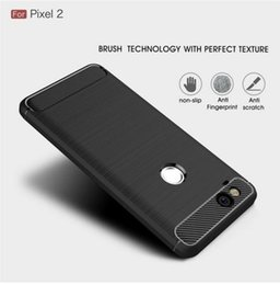Discount luxury armor phone case - For Google Pixel 2   2XL case Luxury Slim Armor Soft Silicone Phone Back Cover for Google Pixel 2 XL Brushed Carbon Fibe
