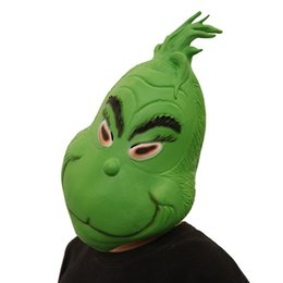 Cosplay Latex Head Mask Australia - Christmas Full Head Masks The Grinch Mask Cosplay 3D Print Costumes Funny How the Grinch Stole Christmas Latex Green Mask Festival Supplies