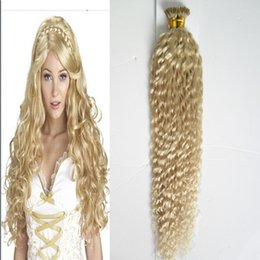 Discount blonde curly virgin hair - #613 Bleach blonde YUNTIAN hair brazilian kinky curly keratin stick tip hair extensions 100S 100g unprocessed virgin bra