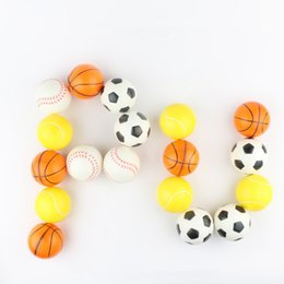 wholesale basketballs Canada - 4 styles 6.3cm PU Squeeze ball stretch children's basketball vent ball foam decompression toy baseball football Hair Bun Maker 360