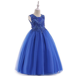 $enCountryForm.capitalKeyWord UK - Girl Sleeveless Tassels Bowknot Bead Piece Dress Floor Length Evening Gown Party Birthday Long Dresses KA845