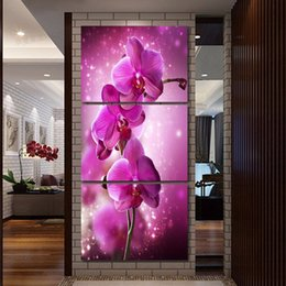 Discount purple flower canvas paintings - 3 Pcs Purple Orchid Flower Picture Posters And Prints Home Decor Wall Art Picture Canvas Painting Cuadros Decocation No