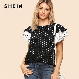 ruffle back blouse NZ - SHEIN Black and White Preppy Polka Dot Keyhole Back Layered Ruffle Sleeve Round Neck Blouse Summer Women Going Out Shirt Top